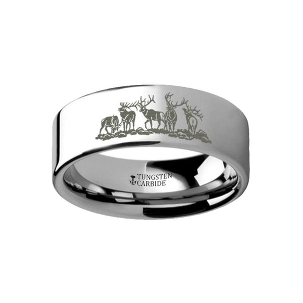 Animal Landscape Scene - Five Deer Stag Hunting Ring  - Laser Engraved - Flat Black Tungsten Ring - 4mm - 6mm - 8mm - 10mm - 12mm - AydinsJewelry