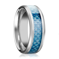 Aydins Tungsten Blue Carbon Fiber Inlay Beveled Edges 4mm, 6mm, 8mm, 10mm Tungsten Carbide Wedding Ring - AydinsJewelry