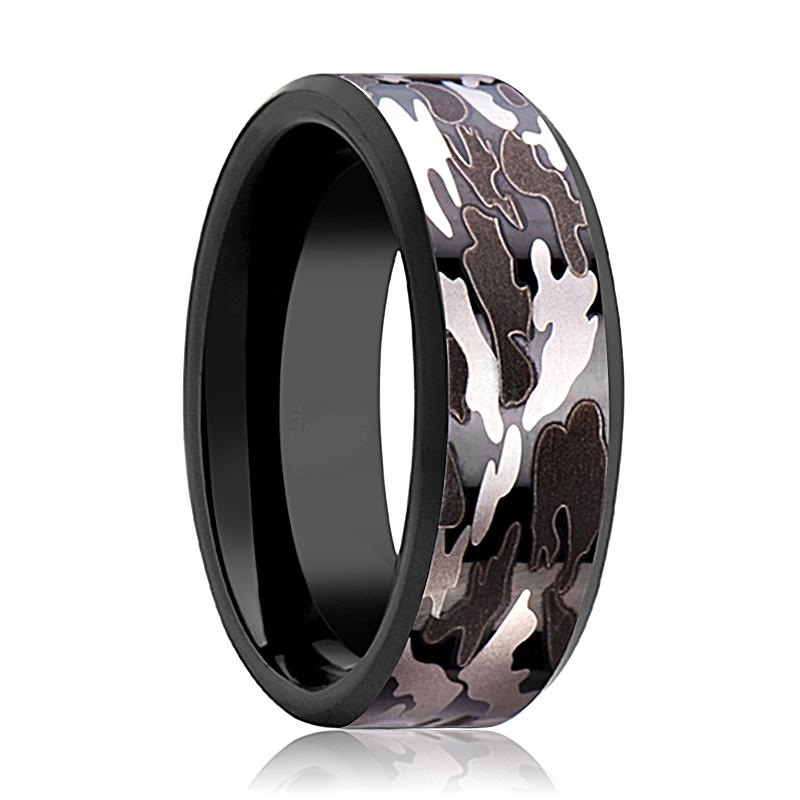 Camo Wedding Band - Black Tungsten - Black and Gray Camo  - Tungsten Wedding Band - Beveled - Polished Finish - 8mm - Tungsten Wedding Ring - Rings - Aydins_Jewelry