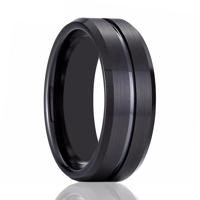 Beveled Tungsten Men's Wedding Band With Black Groove in Center Brushed Finish - Rings - Aydins_Jewelry