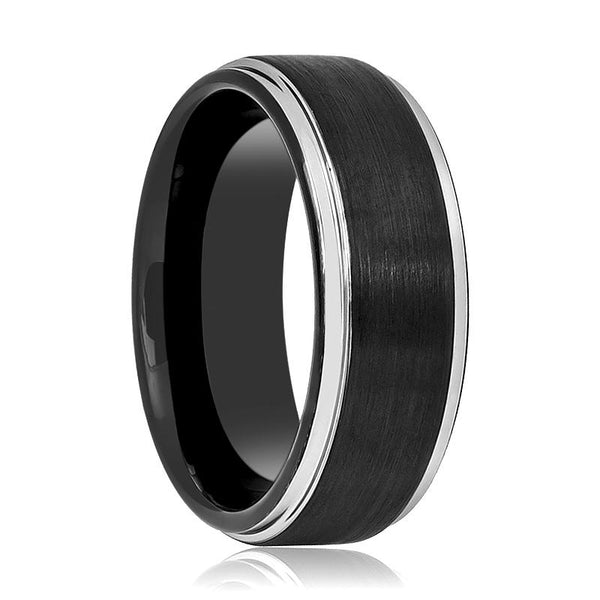 Aydins Tungsten Ring Black Brushed Center Silver Polished Stepped Edge Wedding Band 6mm, 8mm Tungsten Carbide Wedding Ring - AydinsJewelry