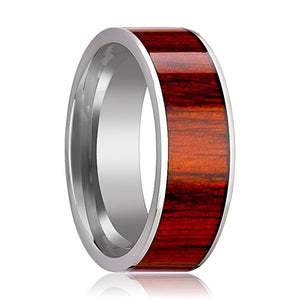 Tungsten Wood Ring - Exotic Padauk Wood Inlay - Tungsten Wedding Band - Polished Finish - 8mm - Tungsten Wedding Ring - AydinsJewelry