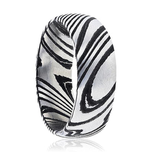 EUDON Domed Brushed Black & Grey Damascus Steel Men's Wedding Band with A Vivid Etched Design - Rings - Aydins_Jewelry