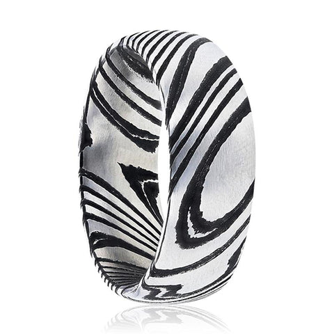 Image of EUDON Domed Brushed Black & Grey Damascus Steel Men's Wedding Band with A Vivid Etched Design - Rings - Aydins_Jewelry