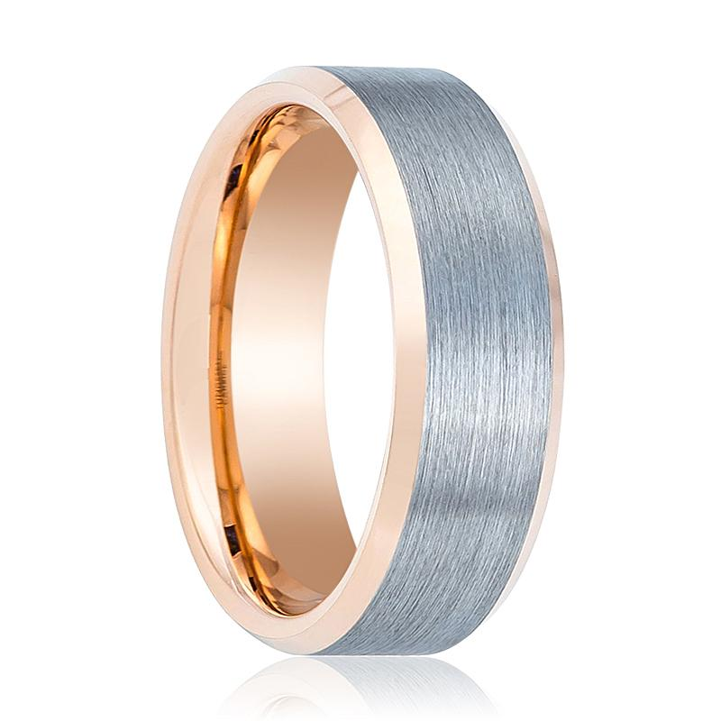 Rose Gold Tungsten Couple Matching Band with Silver Brushed Center and Beveled Edges