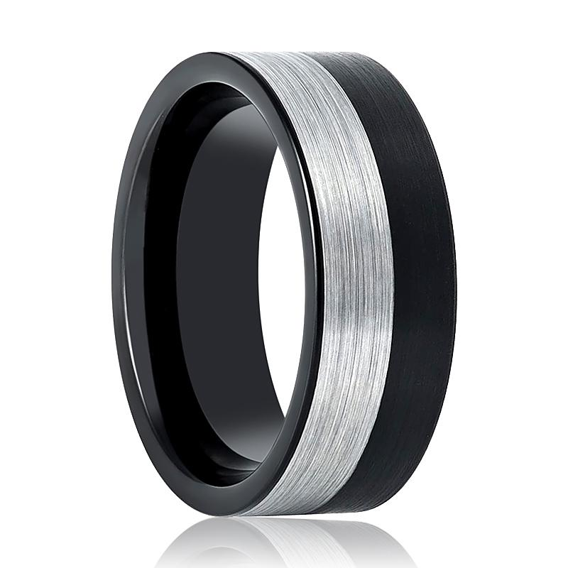 Flat Two-Tone Black & Silver Men's Tungsten Wedding Band Brushed Finish - Rings - Aydins_Jewelry