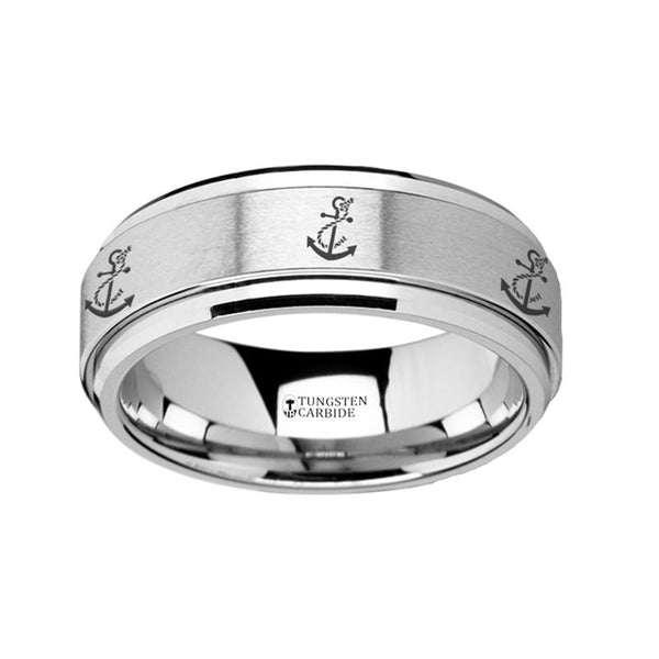 Artistic Anchor Engraved - Spinning Tungsten Ring - Laser Engraved - Tungsten Carbide Wedding Band - 8mm - AydinsJewelry