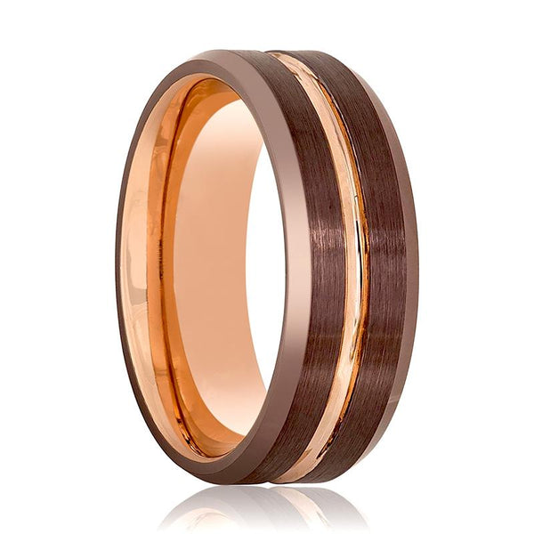 Aydins Rose Gold & Brown Grooved Tungsten Wedding Band for Men 8mm Beveled Edge Tungsten Carbide Wedding Ring - AydinsJewelry