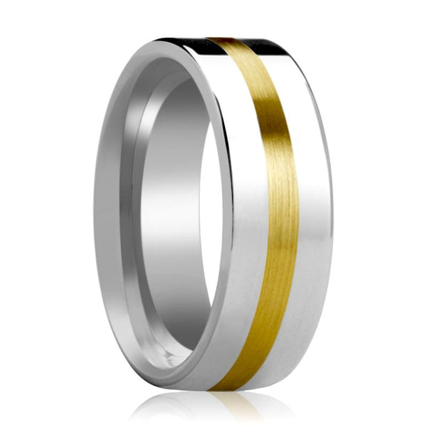 Tungsten Wedding Band with 14k Gold Stripe Inlay Flat Polished Finish 6mm, 8mm