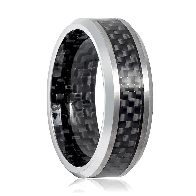 Beveled Tungsten Men's Wedding Band with Carbon Fiber Inlay and Inside the Ring - Rings - Aydins_Jewelry