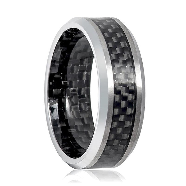 Aydins Mens Tungsten Wedding Band w/ Carbon Fiber Inlay & Inside the Band 8mm Tungsten Carbide Ring - AydinsJewelry