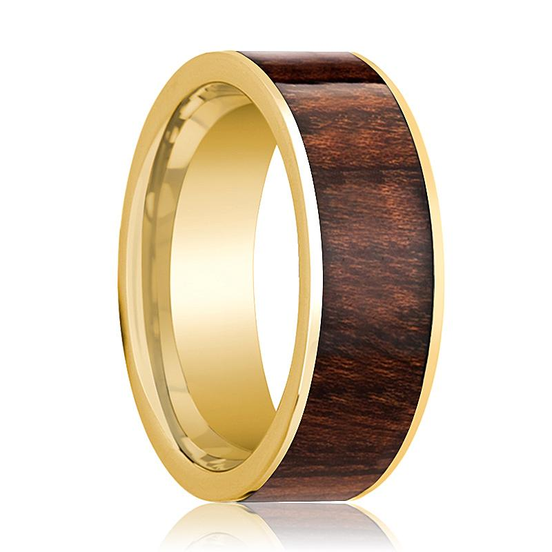 14k Yellow Gold Men's Flat Wedding Band with Carpathian Wood Inlay Polished Finish - Rings - Aydins_Jewelry