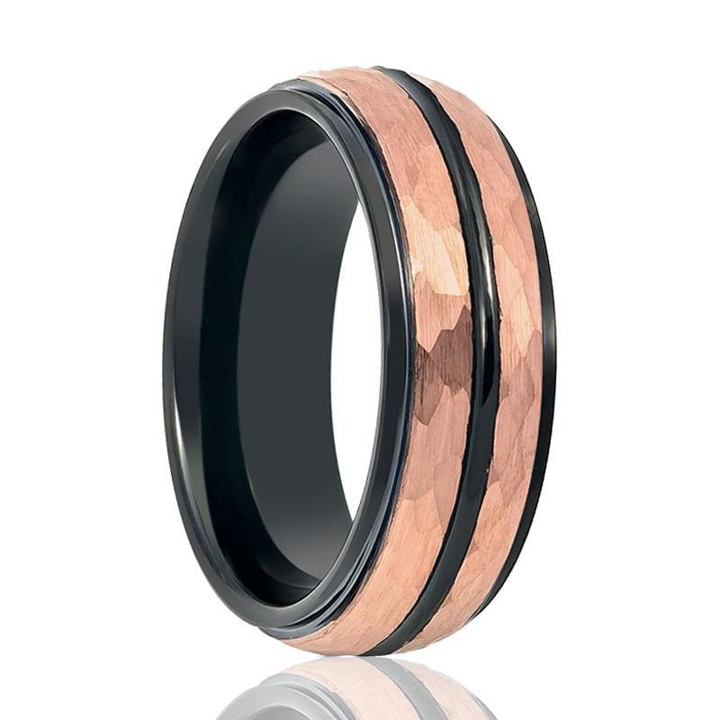 Aydins Rose Gold Hammered Center & Black Grooved Tungsten Wedding Ring for Men 8mm Stepped Edge Tungsten Carbide Wedding Band - Rings - Aydins_Jewelry