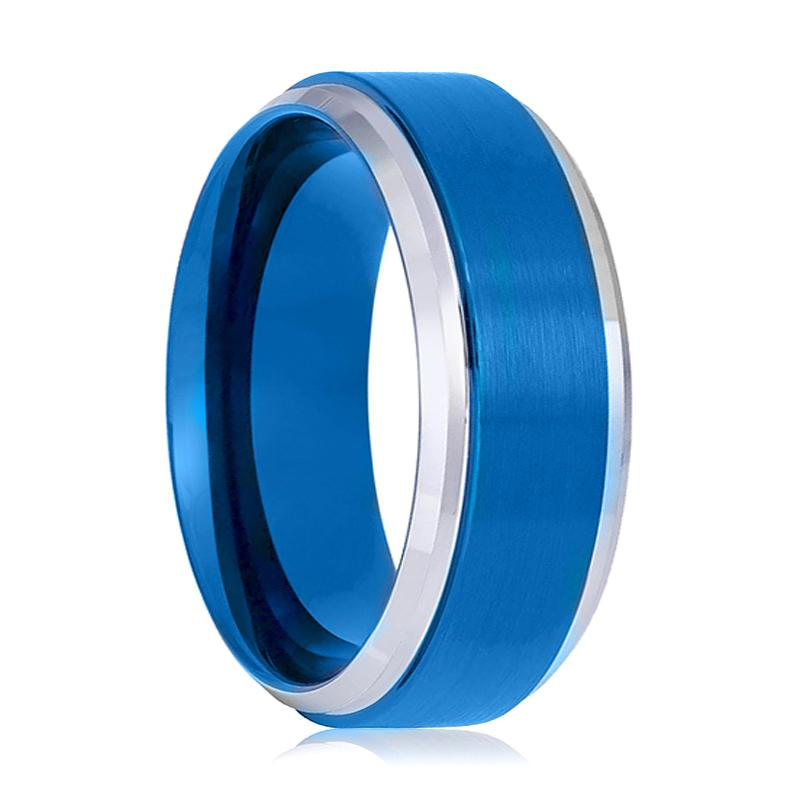 Blue Tungsten Couple Matching Wedding Ring with Silver Stepped Beveled Edges Brushed Polished Finish - 6MM - 8MM - Rings - Aydins_Jewelry