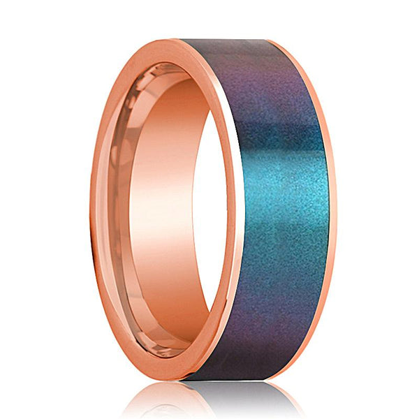 Mens Wedding Band 14K Rose Gold with Blue/Purple Color Changing Inlaid Flat Polished Design - AydinsJewelry