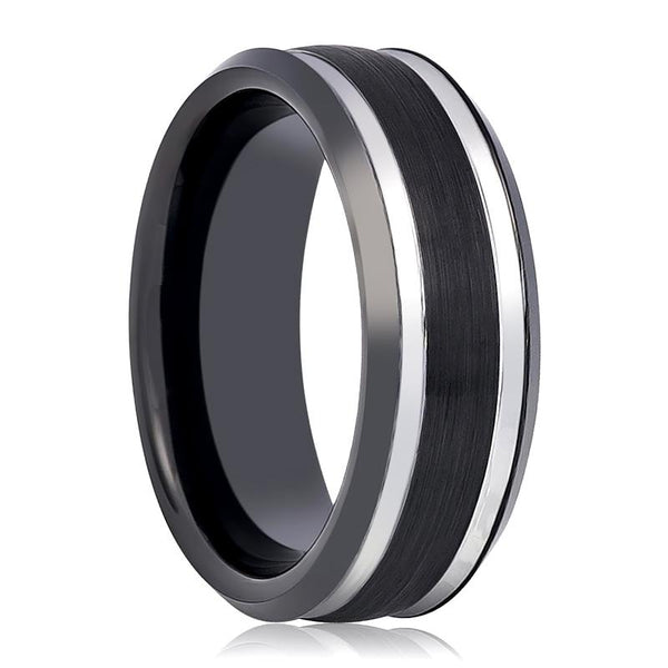 Aydins Tungsten Mens Wedding Band Two Tone Black & Silver Stepped Edge 8mm Tungsten Carbide Ring - AydinsJewelry