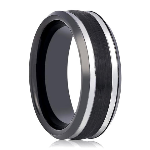 Image of Black & Silver Tungsten Wedding Band for Men with Stepped Beveled Edges - 8MM - Rings - Aydins_Jewelry