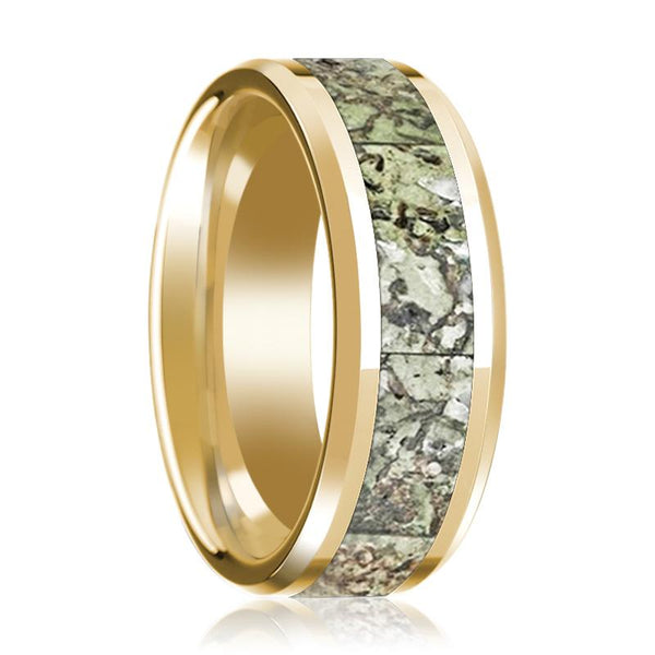Green Dinosaur Bone Inlay Beveled Edges Polished 14K Yellow Gold 8mm Wedding Band