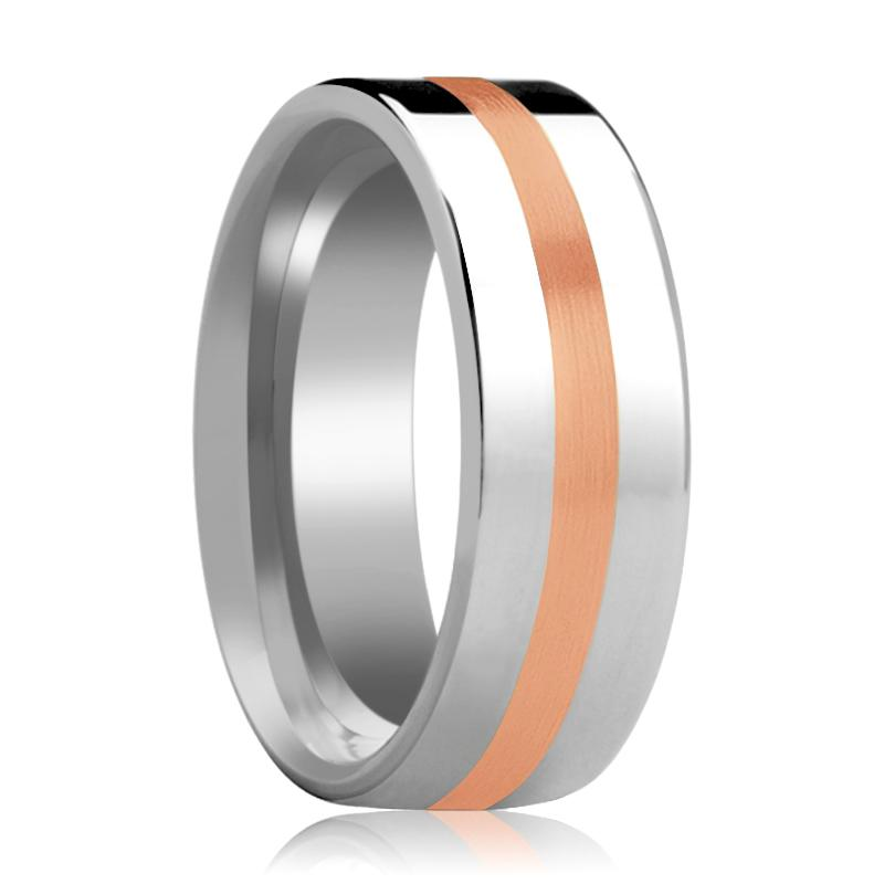 Men's Flat Tungsten Wedding Band with 14k Rose Gold Stripe Inlay Polished Finish - 6MM - 8MM