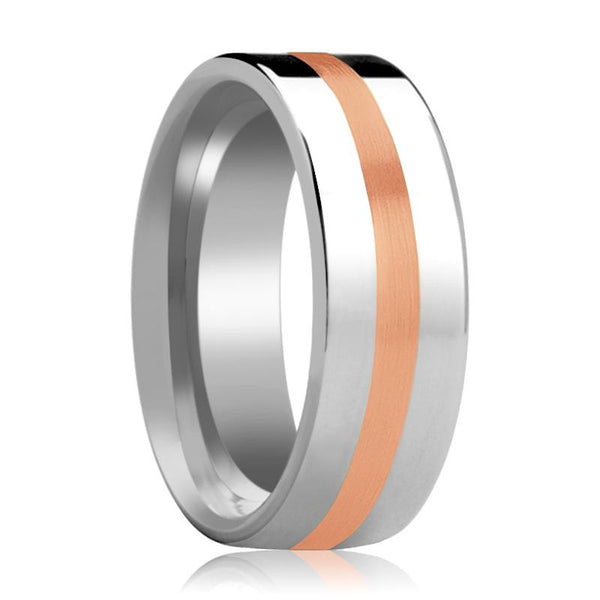 Tungsten Wedding Ring with 14k Rose Gold Stripe Inlay Flat Polished Finish 6mm, 8mm