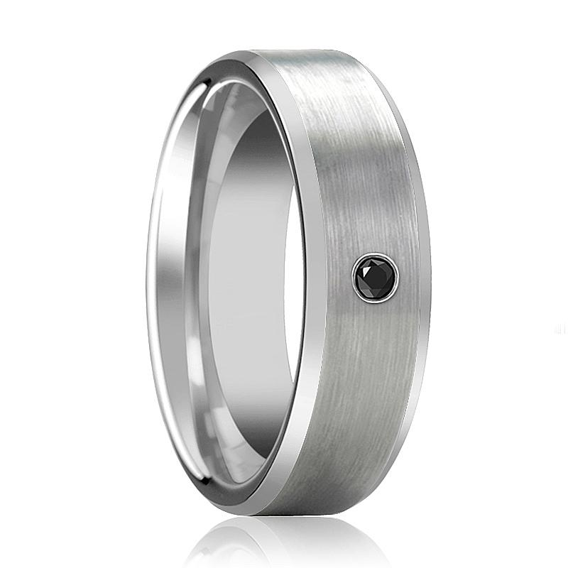 RUDRA Silver Brushed Men's Tungsten Wedding Band with Black Diamond in Center and Bevels - 6MM - 8MM