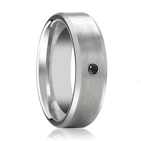 Image of RUDRA Silver Brushed Men's Tungsten Wedding Band with Black Diamond in Center and Bevels - 6MM - 8MM