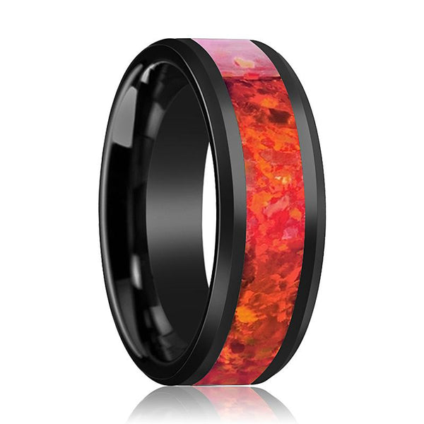 Black Ceramic Ring - Red Opal Inlay - Ceramic Wedding Band - Beveled - Polished Finish - 4mm - 6mm - 8mm - Ceramic Wedding Ring - AydinsJewelry