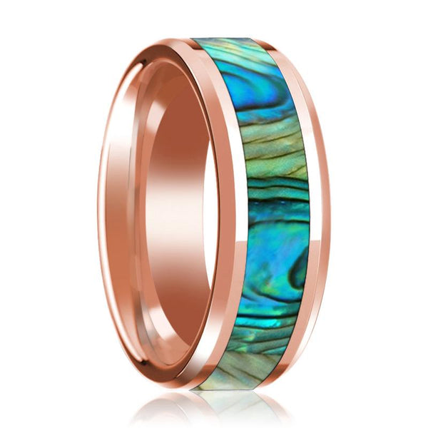 Rose Gold 14K Mother of Pearl Inlay Beveled Edge Mens Wedding Band Polished Design