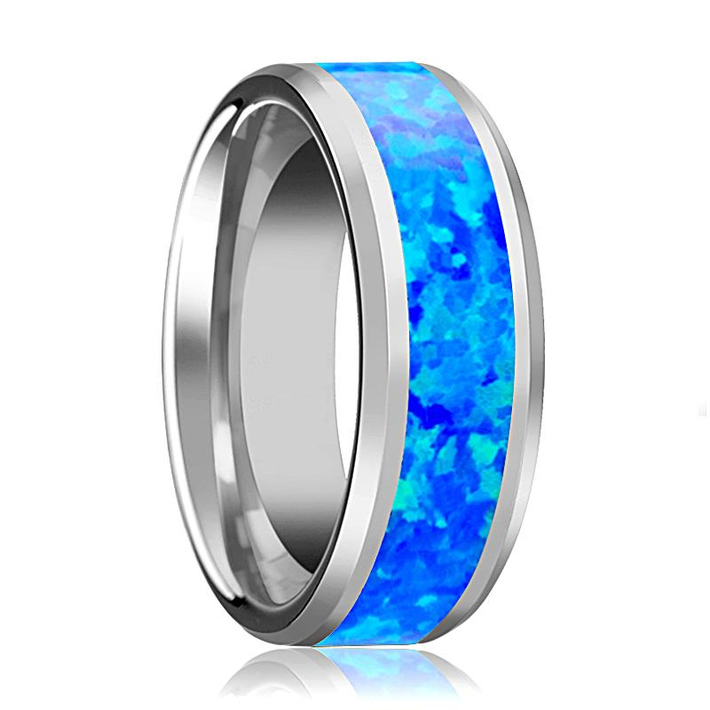 BENJAMIN Blue Green Opal Inlay Tungsten Wedding Band Polished Finish - Rings - Aydins_Jewelry