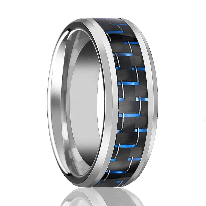 Blue Carbon Fiber Inlaid Silver Tungsten Carbide Ring for Men with Beveled Edges - 6MM - 10MM - Rings - Aydins_Jewelry
