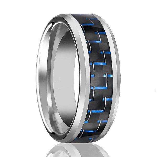 Aydins Mens Tungsten Wedding Band w/ Blue Carbon Fiber Inlay Beveled Edges 8mm Tungsten Carbide Ring - AydinsJewelry