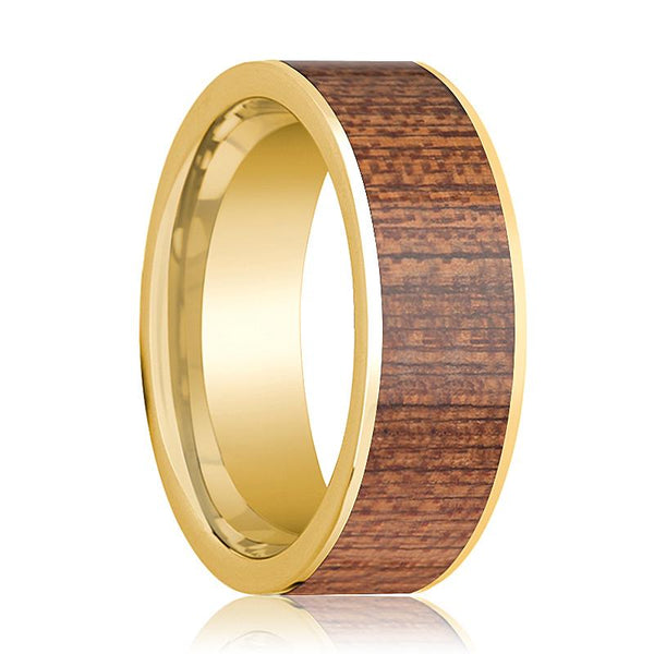 Mens Wedding Ring Polished 14k Yellow Gold Flat Wedding Band with Cherry Wood Inlay - 8mm - AydinsJewelry