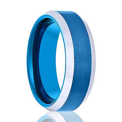 Aydins Tungsten Wedding Ring Blue Brushed Polished Beveled Edges 6mm, 8mm Tungsten Carbide Mens & Womens Band - AydinsJewelry