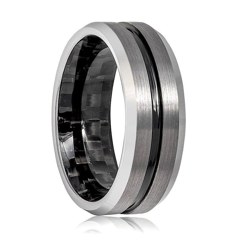 Aydins Mens Tungsten Wedding Band Black Groove & Carbon Fiber Inside the Band Tungsten Carbide Ring - Rings - Aydins_Jewelry