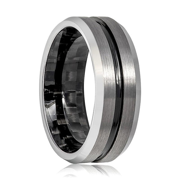 Aydins Mens Tungsten Wedding Band Black Groove & Carbon Fiber Inside the Band Tungsten Carbide Ring - AydinsJewelry