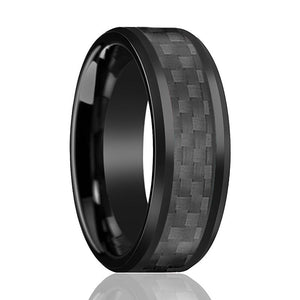 Aydins Tungsten Ring Black Shiny Polished w/ Black Carbon Fiber Inlay Wedding Band 8mm Tungsten Carbide Wedding Ring - Rings - Aydins_Jewelry