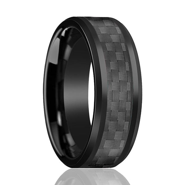 Aydins Tungsten Ring Black Shiny Polished w/ Black Carbon Fiber Inlay Wedding Band 8mm Tungsten Carbide Wedding Ring - AydinsJewelry