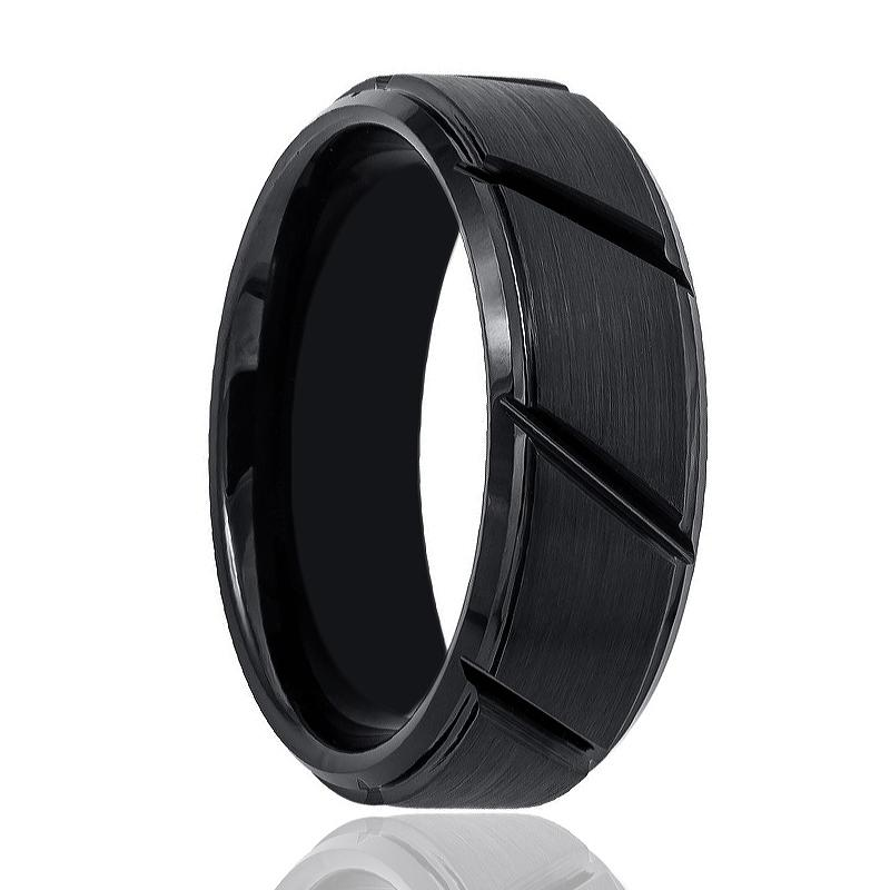 Aydins Tungsten Mens Wedding Band Black Brushed w/ Diagonal Grooves 8mm Tungsten Carbide Ring - Rings - Aydins_Jewelry