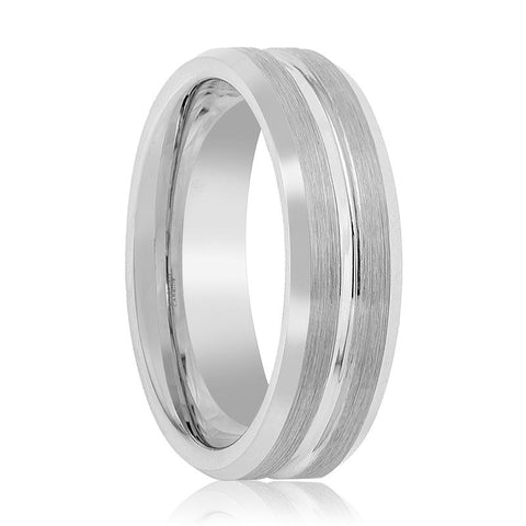 Image of Silver Brushed Men's Tungsten Wedding Band with Grooved Center & Beveled Edges - 7MM - 9MM