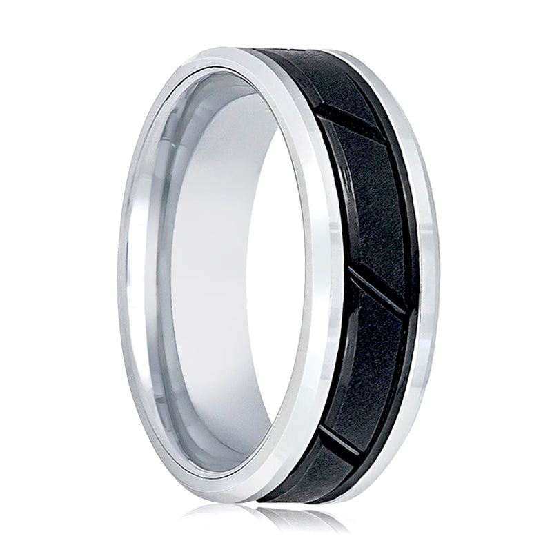 Two Tone Black Ring with Diagonal Grooves at the Ring
