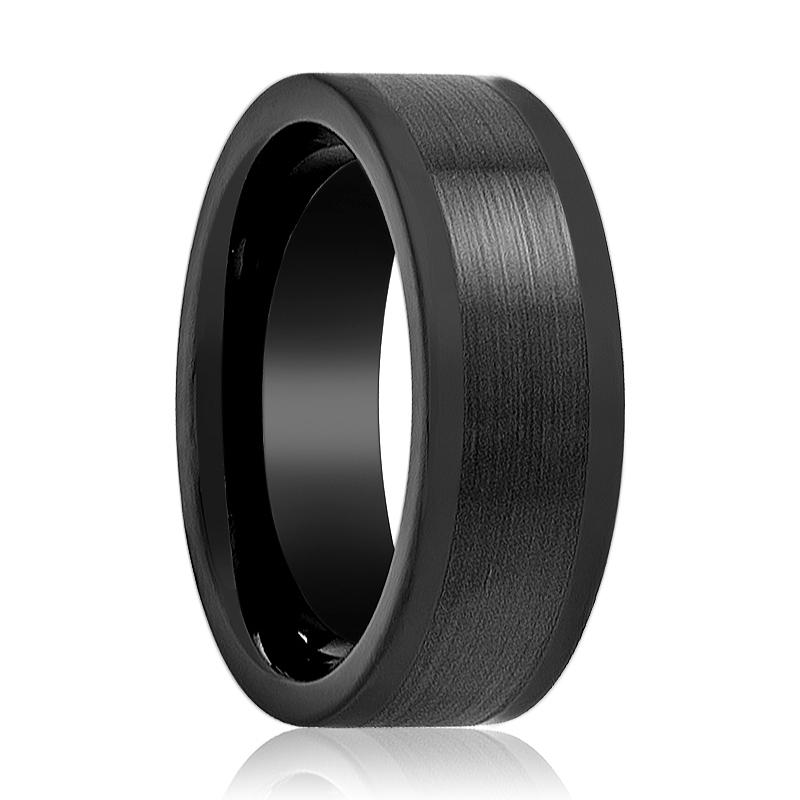 Aydins Tungsten Ring Black Brushed Center Wedding Band 8mm Polished Flat Edge Tungsten Carbide Wedding Ring - Rings - Aydins_Jewelry
