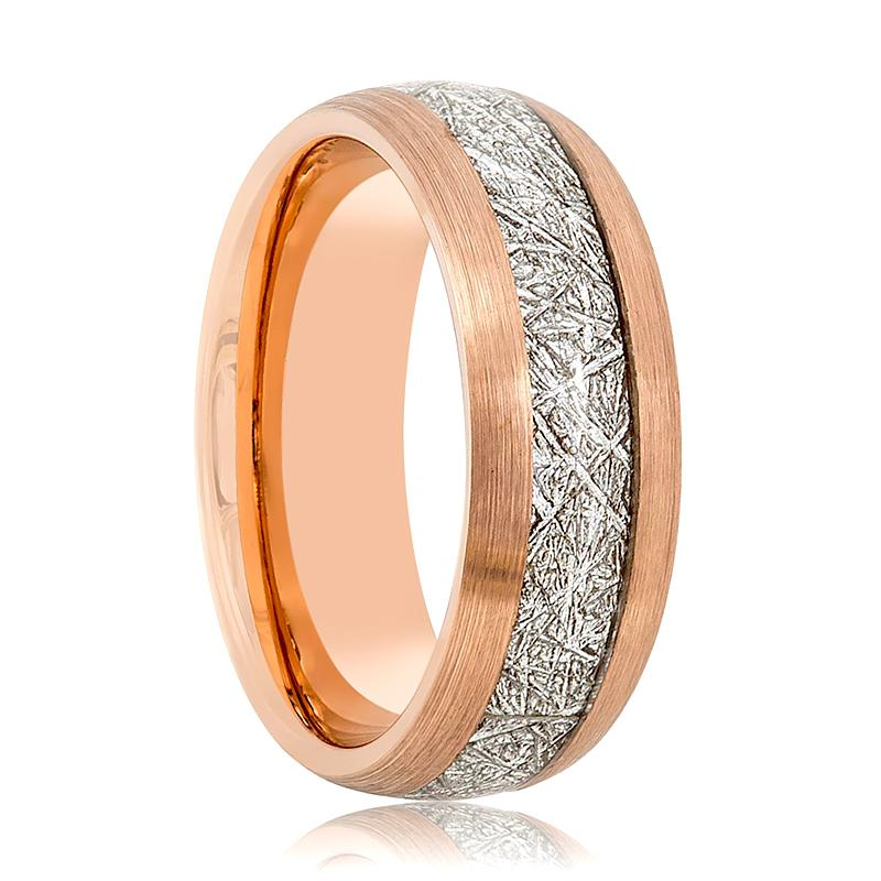 Domed Rose Gold Wedding Band for Men with Meteorite Inlay Brushed Finish - 8MM - Rings - Aydins_Jewelry