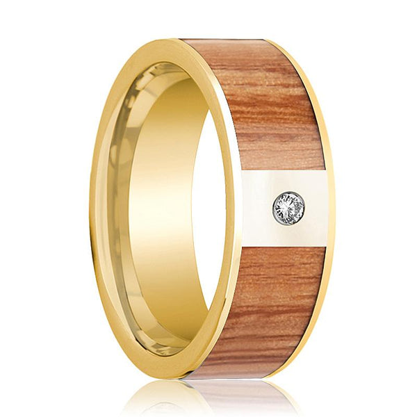 Mens Wedding Band 14k Yellow Gold with Red Oak Wood Inlay & Diamond - 8mm - AydinsJewelry