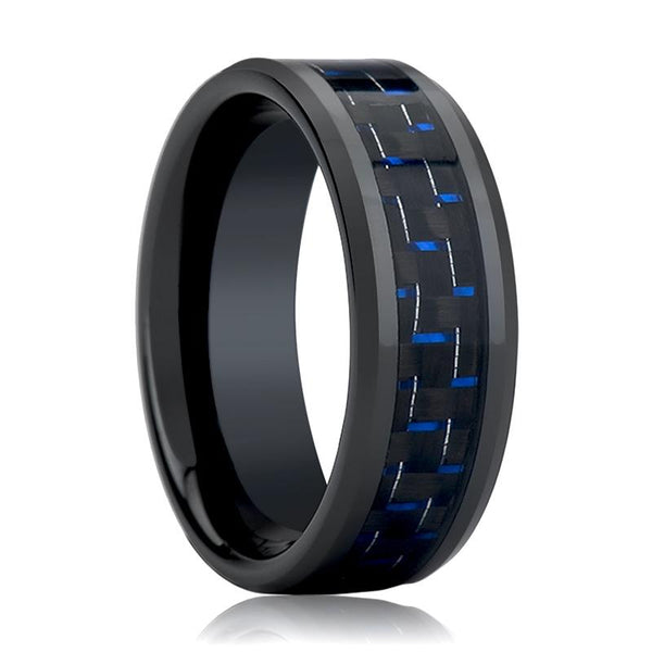 ASHER Blue & Black Carbon Fiber Inlay - AydinsJewelry
