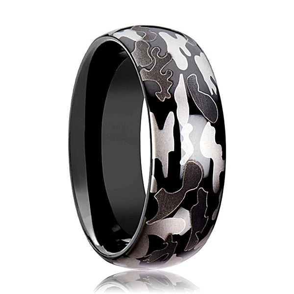 Tungsten Camo Ring - Black and Gray Camo  - Tungsten Wedding Band - Polished Finish - 8mm - Tungsten Wedding Ring - AydinsJewelry