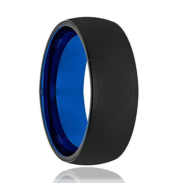 Tungsten Wedding Band - Mens Wedding Band - Black Tungsten Brushed - Blue Tungsten - Dome Ring - Tungsten Wedding Ring - Man Tungsten Ring - 6mm - 8mm - AydinsJewelry