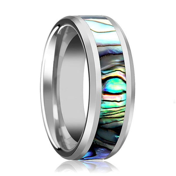 Tungsten Mother Of Pearl Inlay - Tungsten Wedding Band - Beveled - Polished Finish - 4mm - 6mm - 7mm - 8mm - 10mm - Tungsten Wedding Ring - AydinsJewelry