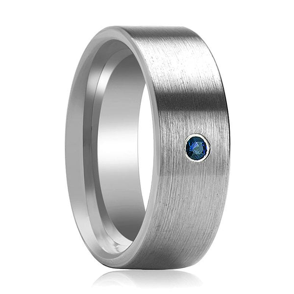 JAYCE Flat Blue Diamond Ring Brushed
