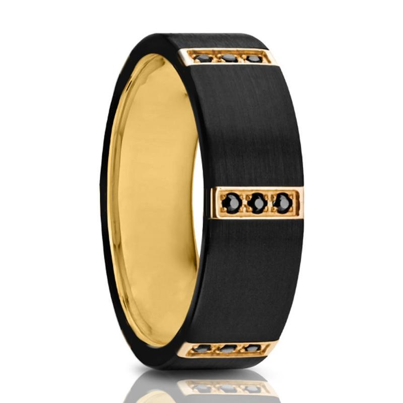 XANDER Flat Black Titanium Ring Gold Plated inside with 3 Gold Plated Bezels Triple Black Diamond Setting - 8mm