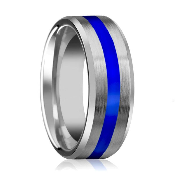 White Tungsten Ring Blue Center Stripe, Tungsten Wedding Band, Beveled Edges Brushed Finish 8mm